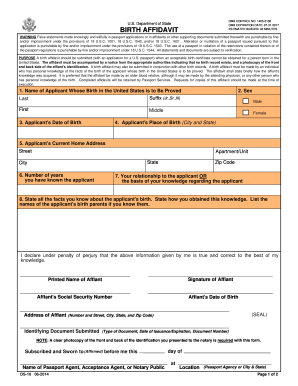 22 Printable Birth Affidavit Forms and Templates - Fillable Samples in ...