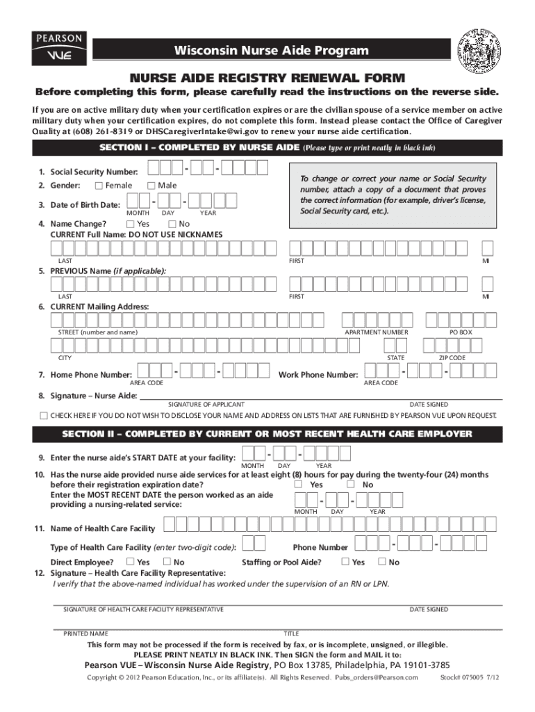 Pearson Vue Cna Renewal - Fill Online, Printable, Fillable ...