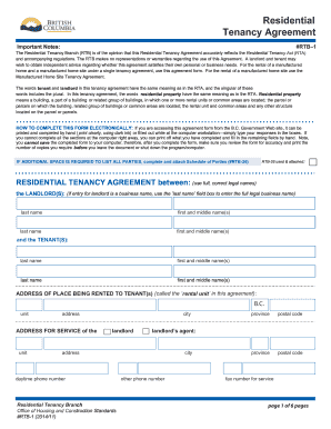Job Application Form British Columbia Residential Tenancy