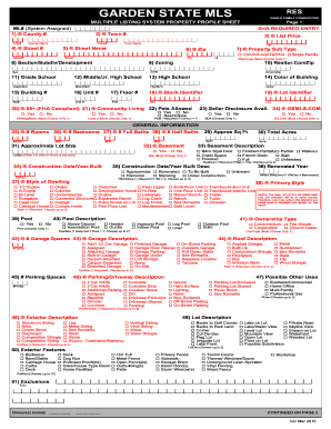 Nj Garden State Mls Multiple Listing System Property Profile Sheet Form  Versions