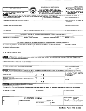 Customs Form 4790 - Fill Online, Printable, Fillable, Blank ...