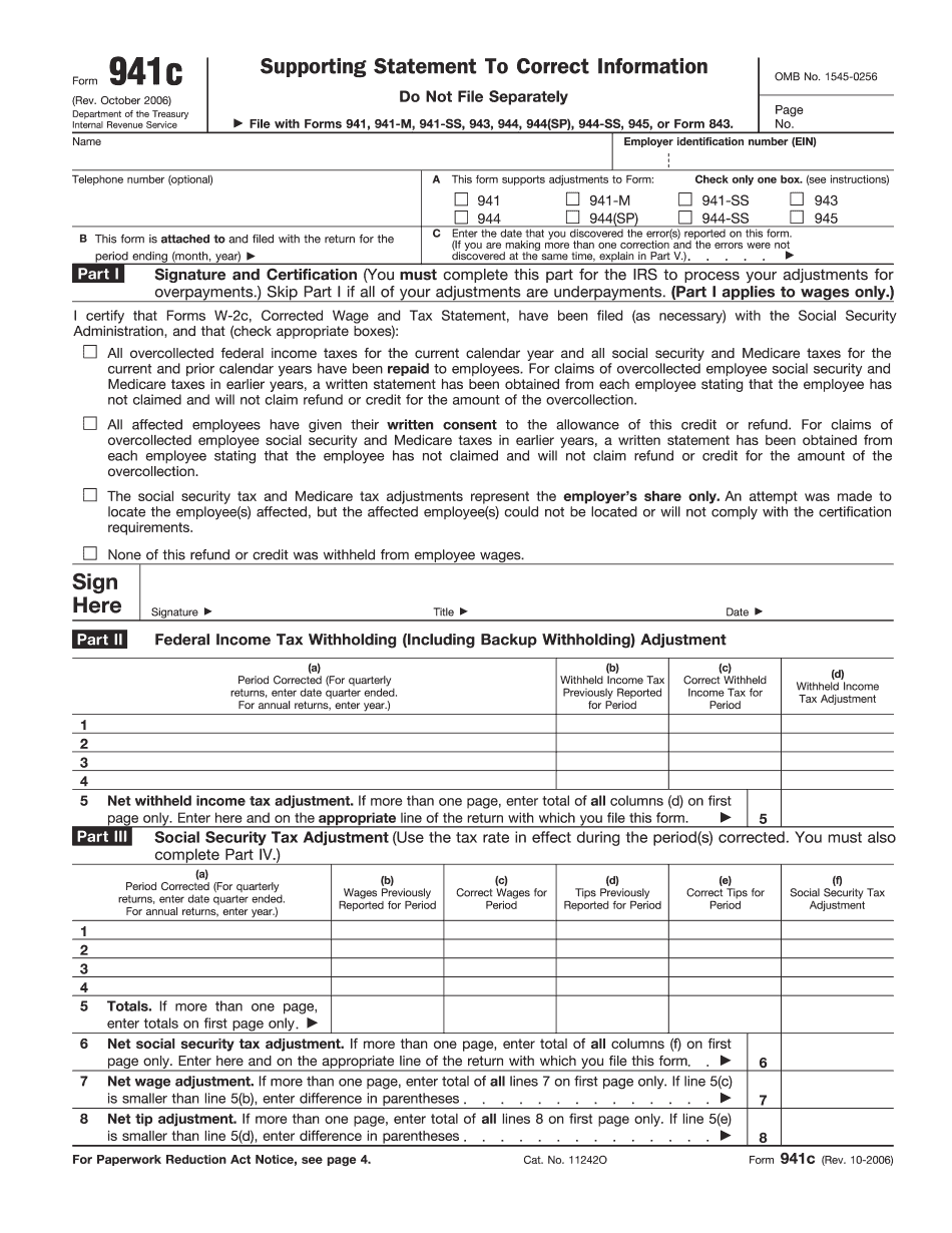 IRS Form 941c 2006 - 2019 - Fillable and Editable PDF Template