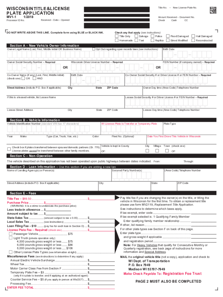 image about Wisconsin Dmv Mv3001 Printable called 2015-2019 Kind WI DoT MV1 Fill On-line, Printable, Fillable