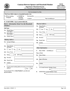 2015-2017 Form USCIS I-864A Fill Online, Printable, Fillable ...