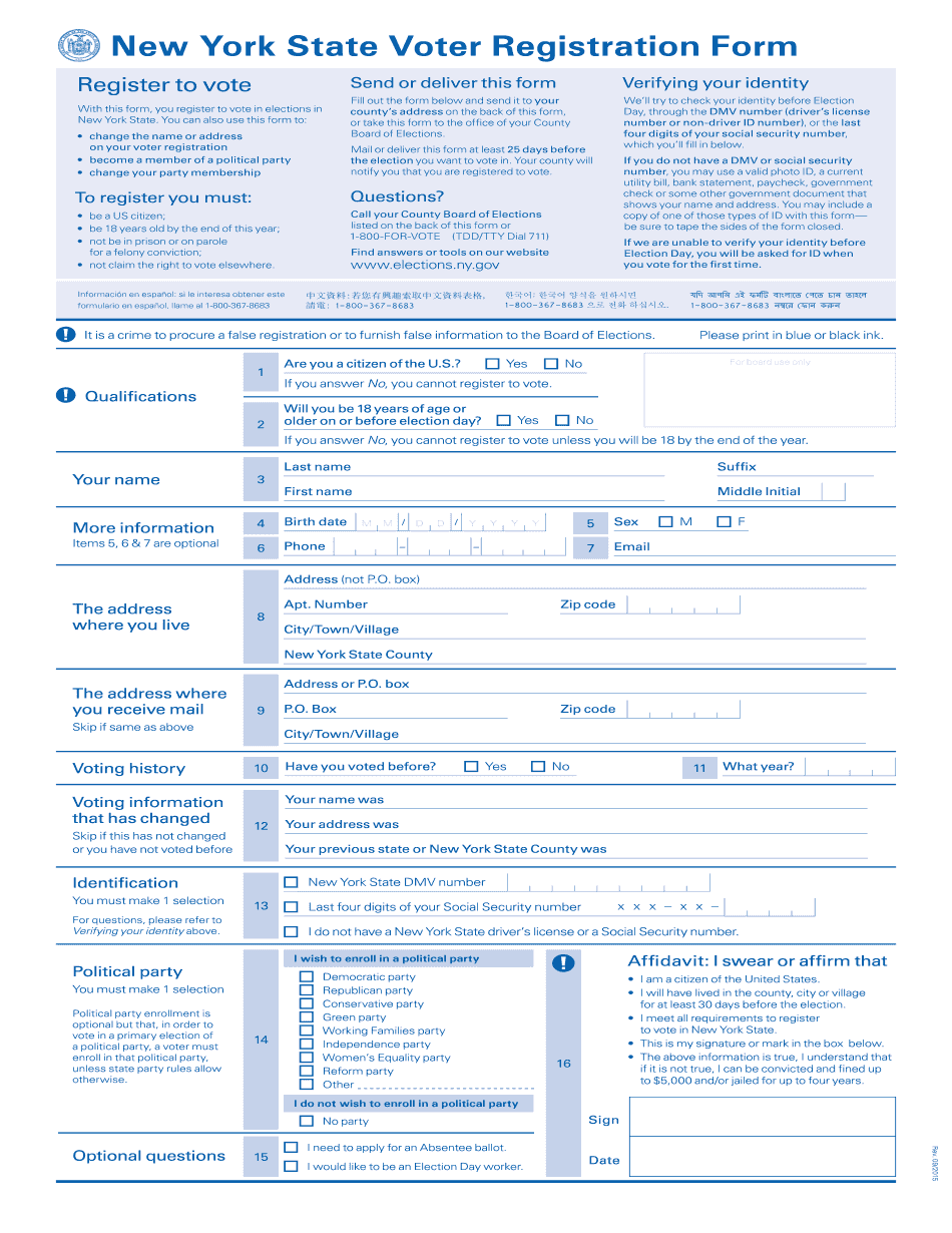 ny voter registration form 2015  printable blank pdf online