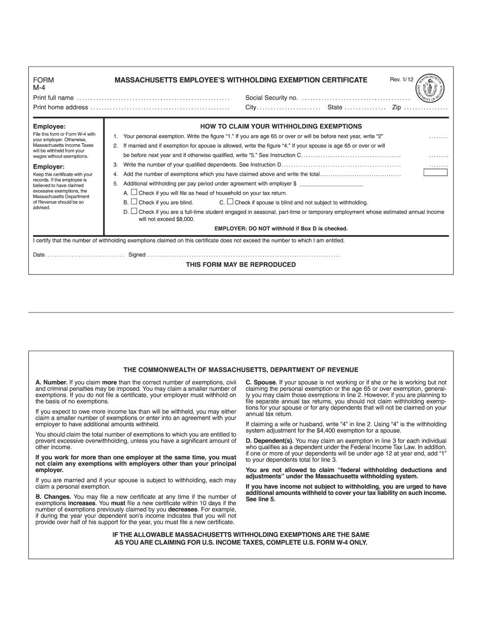 Form MA M-4 2012-2021
