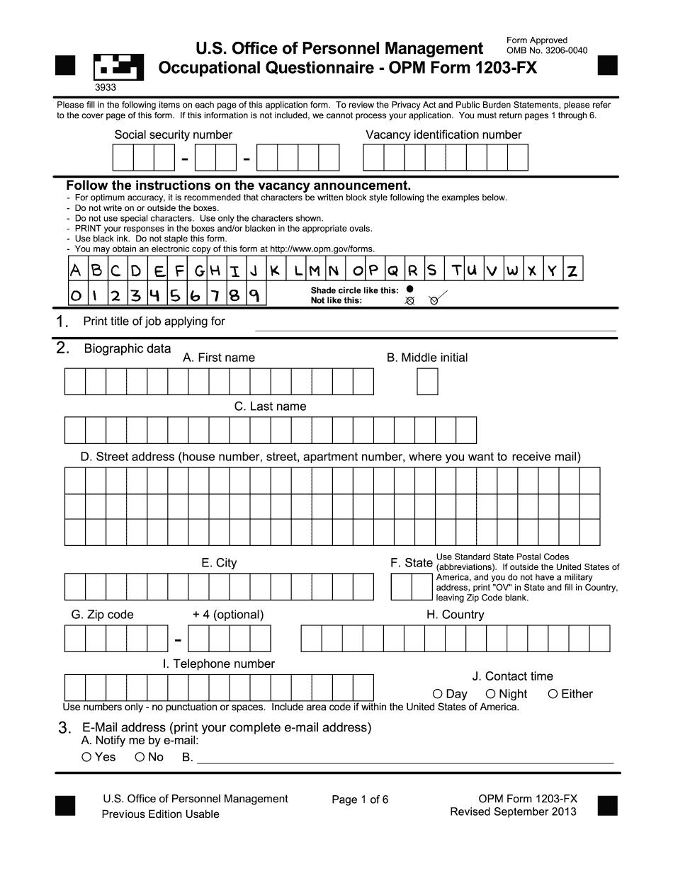 occupational questionnaire pdf