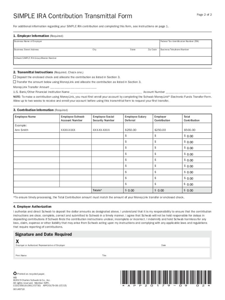 2015-2019 Simple IRA Contribution Transmittal Form Fill