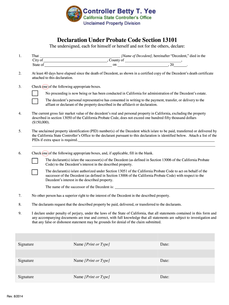 Declaration Under Probate Code 13101 - Fill Online, Printable, Fillable, Blank