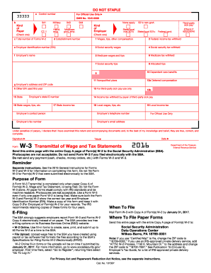2016 Form IRS W-3 Fill Online, Printable, Fillable, Blank - PDFfiller