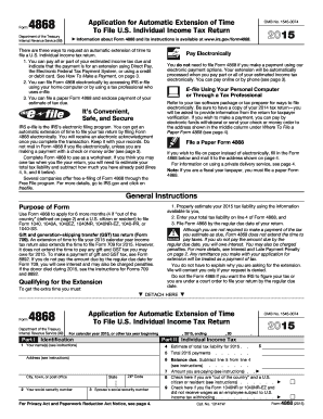 2015 Form IRS 4868 Fill Online, Printable, Fillable, Blank - PDFfiller