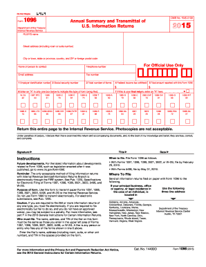 2015 Form IRS 1096 Fill Online, Printable, Fillable, Blank - PDFfiller