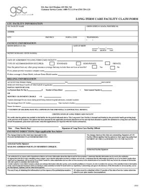 2015-2019 Canada Long-Term Care Facility Claim Form Fill ...