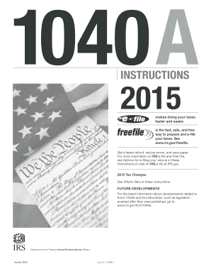 2015 Form IRS Instruction 1040-A Fill Online, Printable, Fillable ...