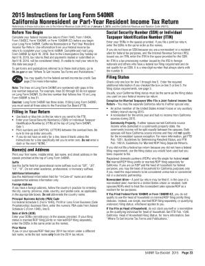 2015 Form CA FTB 540NR Instructions Fill Online, Printable ...