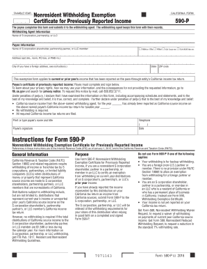 2016 Form CA FTB 590-P Fill Online, Printable, Fillable, Blank ...