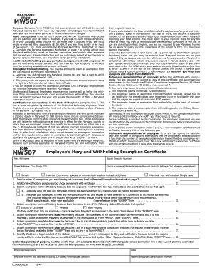 2016 Form MD Comptroller MW 507 Fill Online, Printable, Fillable ...