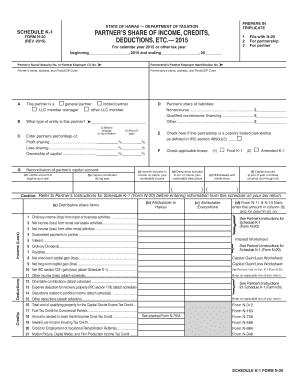 2015-2017 Form HI DoT N-20 - Schedule K-1 Fill Online, Printable ...