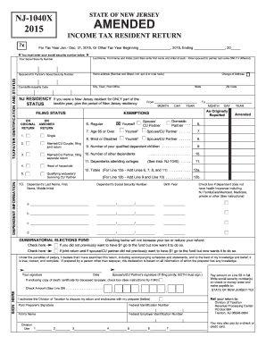 2014 Form NJ DoT NJ-1040x Fill Online, Printable, Fillable, Blank ...