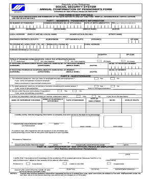 2013-2017 Form PH SSS Annual Confirmation of Pensioner's Form Fill ...