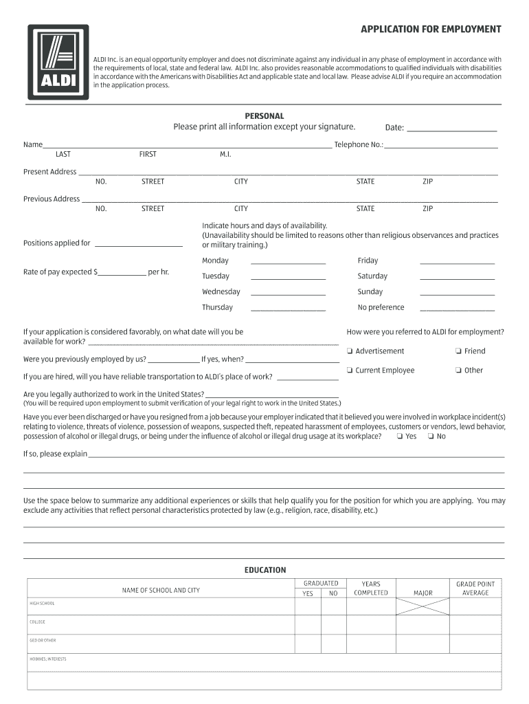 2014 2019 Form Aldi Application For Employment Fill Online