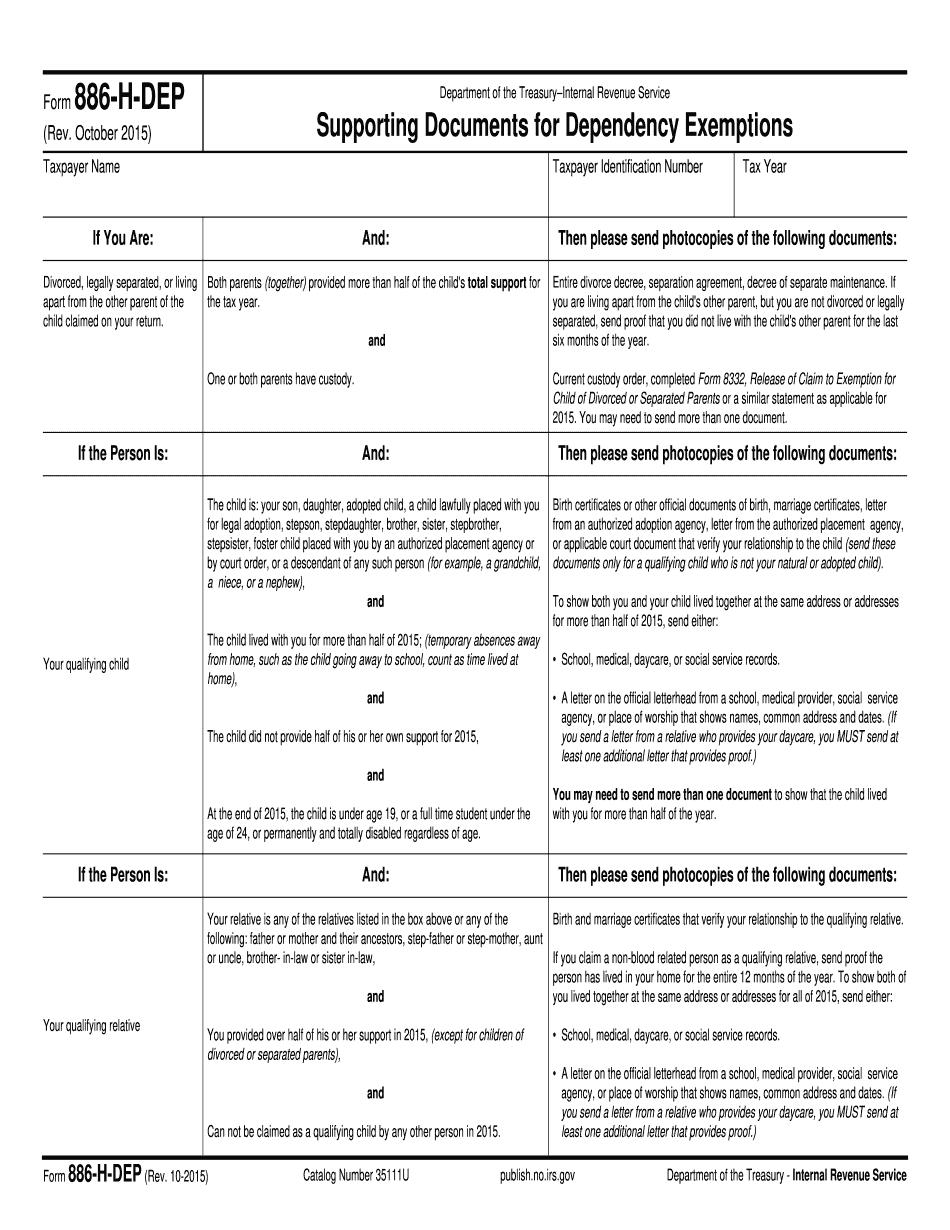Form 886-H-DEP