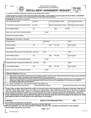 2015-2017 Form SC DoR FS-102 Fill Online, Printable, Fillable ...