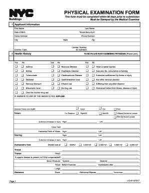 graphic about Printable Physical Forms named bodily assessment type nyc - Fill Out, Print Obtain