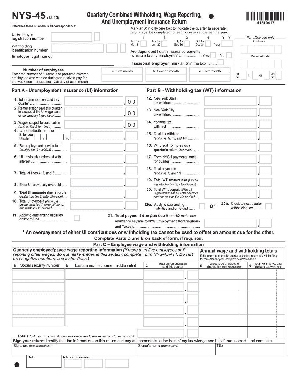 Form NYS-45 2015-2021