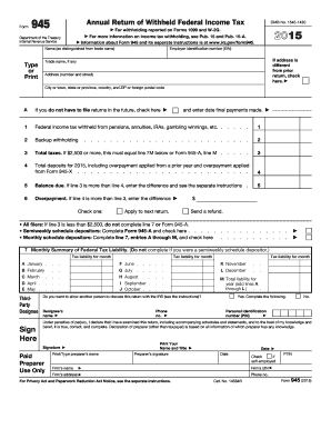 2015 Form IRS 945 Fill Online, Printable, Fillable, Blank - PDFfiller