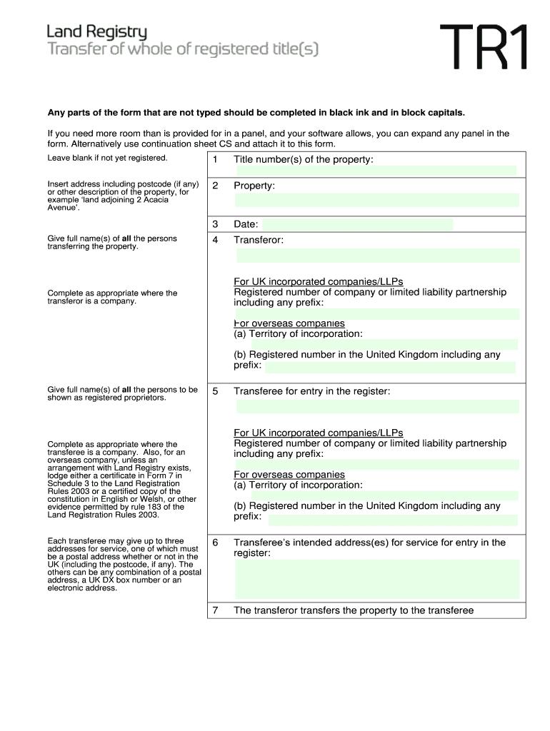 Land Registry Tr1 >> Tr1 Form - Fill Online, Printable, Fillable, Blank | PDFfiller