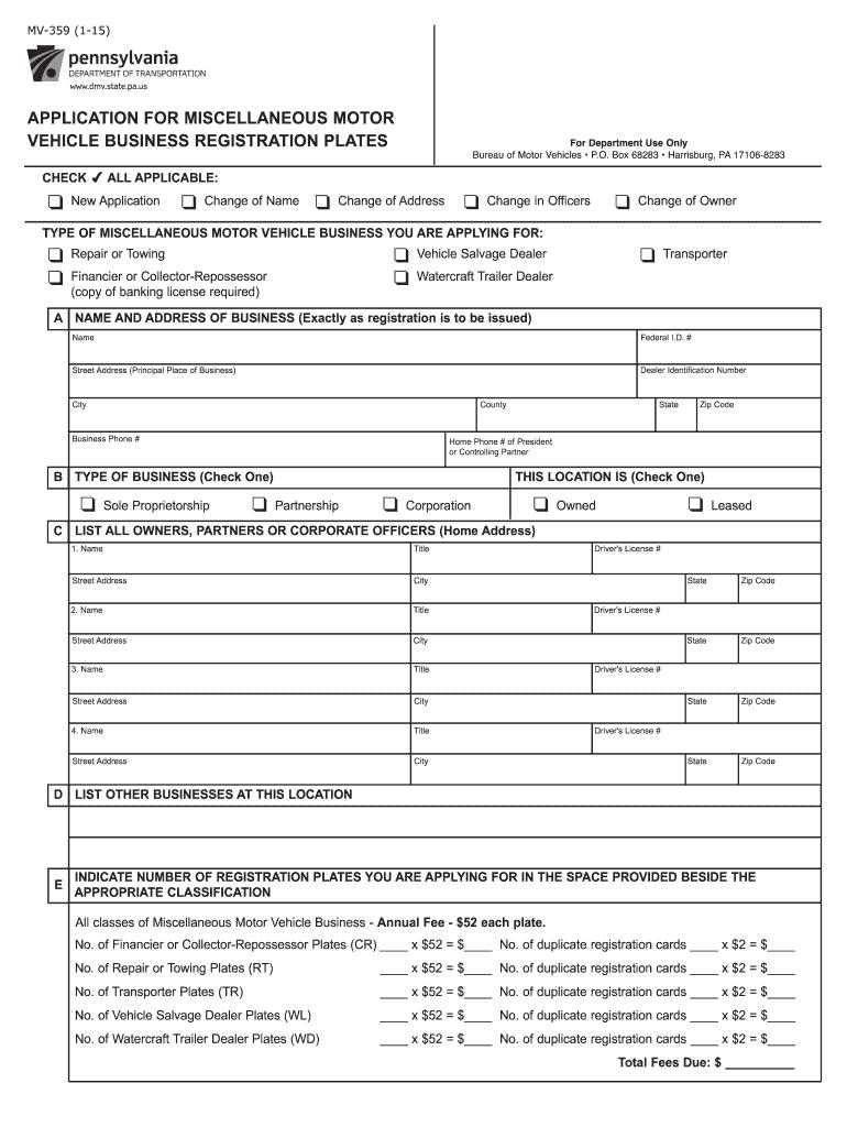 2015-2019 Form PA MV-359 Fill Online, Printable, Fillable