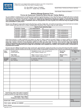 Medical Mileage Expense Form Templates - Fillable & Printable ...