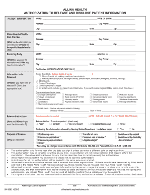 Health Authorization Release Form