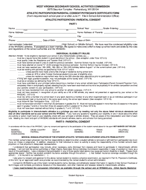 sports physical form 2018  8-8 WV Athletic Participation/Parental Consent ...
