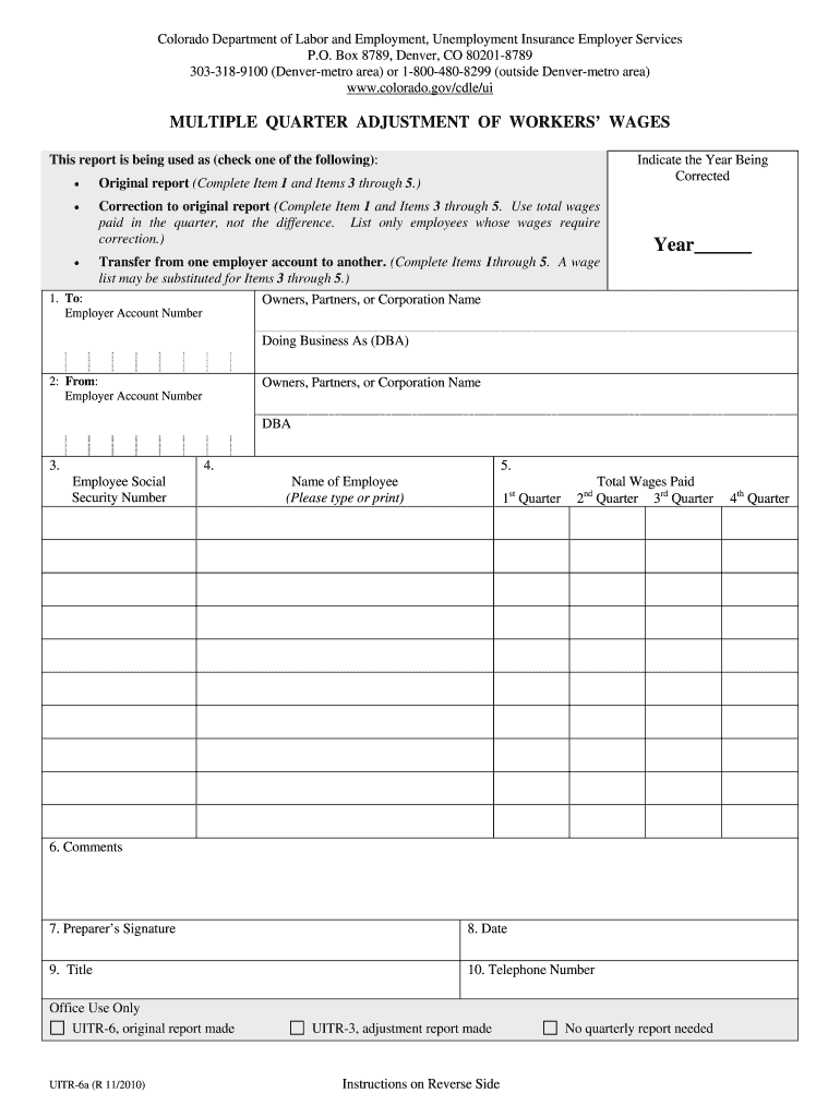 Uitr 6a Colorado Form Fill Online Printable Fillable Blank