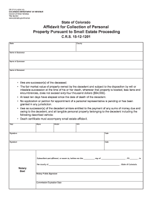 Affidavit For Collection Of Personal Property Colorado