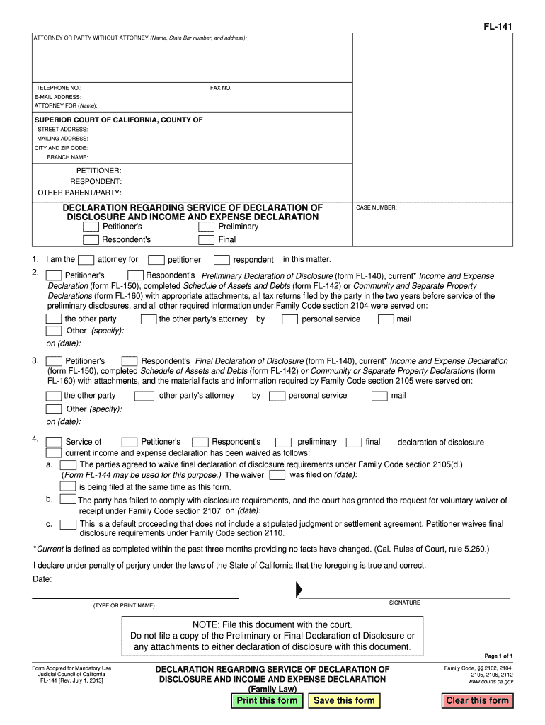 2013-2019 Form CA FL-141 Fill Online, Printable, Fillable
