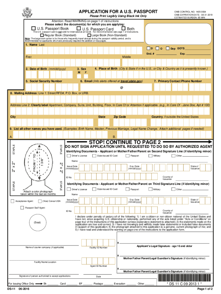 2016-2019 Form DS-11 Fill Online, Printable, Fillable, Blank - PDFfiller