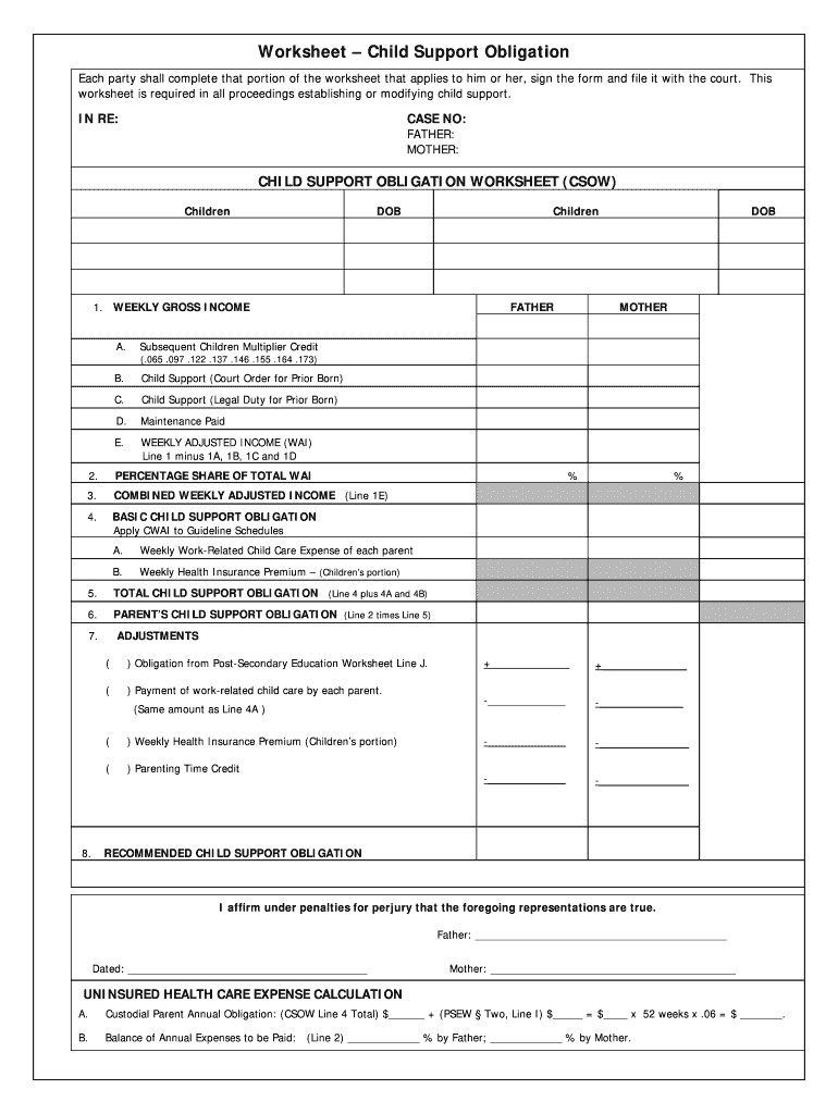 Indiana Child Support Worksheet 2019 Fill Online