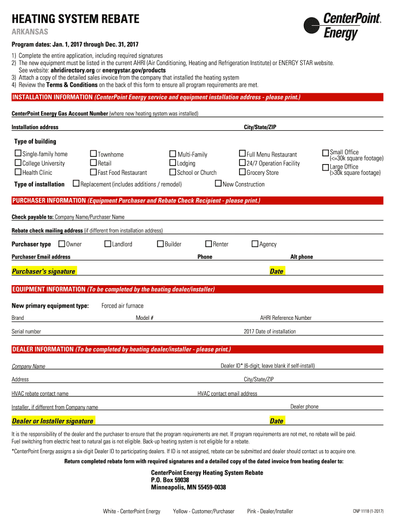 Centerpoint Phone Number >> 2017 2019 Form Ar Cnp 1118 Fill Online Printable Fillable Blank