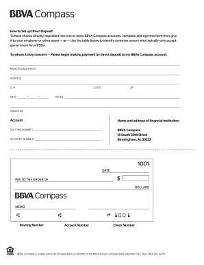 2017-2019 Form BBVA Compass Direct Deposit Authorization