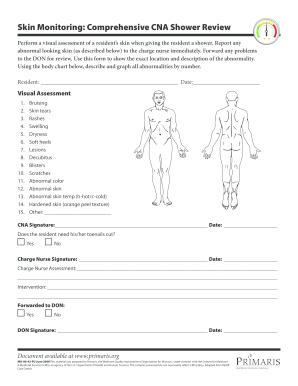 Fillable Online Skin Monitoring Comprehensive CNA Shower Review ...