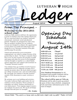 1, Issue 1 From The Principal Welcome to the 20142015 school year - spiluhi