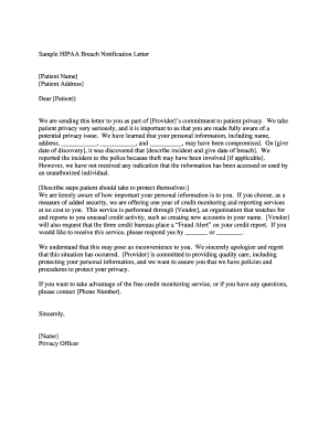 60272369 Sample Breach Notification Letter Template on for partial opening, contest winner, inmate release, physician change, for new supplier fda, privacy breach, conferment award, regarding video surveillance,