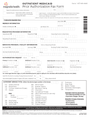 Outpatient Prior Authorization Form   Magnolia Health Plan