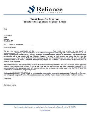 fillable online trustee resignation request letter capital