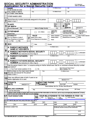 Application for the Social Security Card