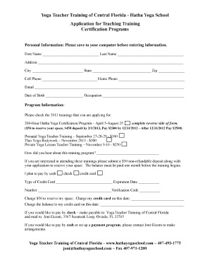 Fillable Online Application Form 1 Yoga Teacher Training Of Central Florida Fax Email Print Pdffiller