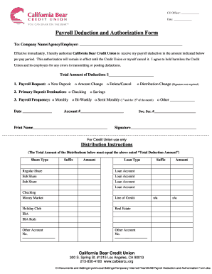 payroll deduction authorization form california Templates ...